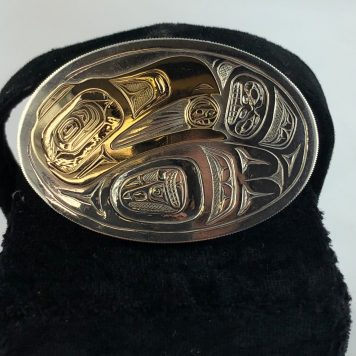 Sterling Silver Belt Buckle with 14k Gold inlay by Haida Artist Bernard Kerrigan