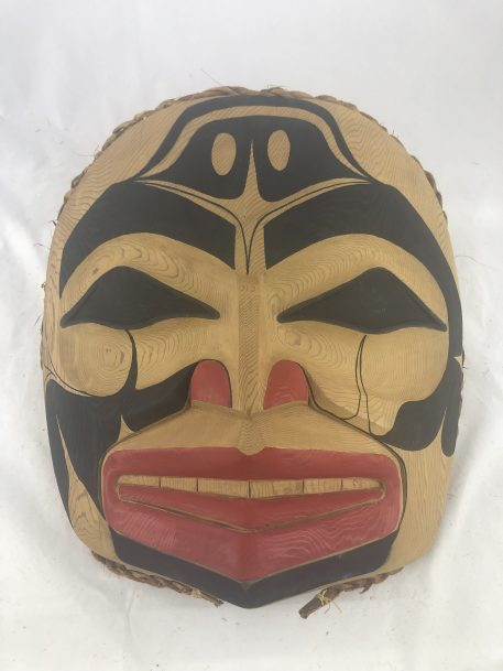 The Shamon Mask carved in cedar by Haida Artist Jason Watts.